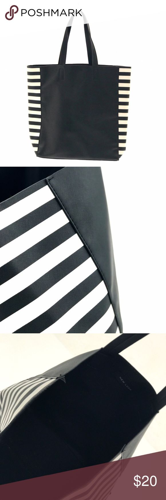 BLACK AND WHITE STRIPED TOTE Black and white striped tote // No pockets, just a drop all tote // White paint splotches on bottom of bag // Good used condition New Look Bags Totes