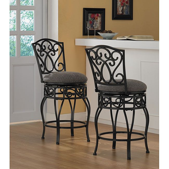 Comfortable and supportive, these padded wrought iron counter stools are equipped with a 360-degree swivel. Ideal for the kitchen and great in the bar, these classic stools invite friendly conversation and long, leisurely relaxation.