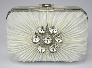 Ivory Satin Ruched Brooch Hard Case Evening/Clutch Bag