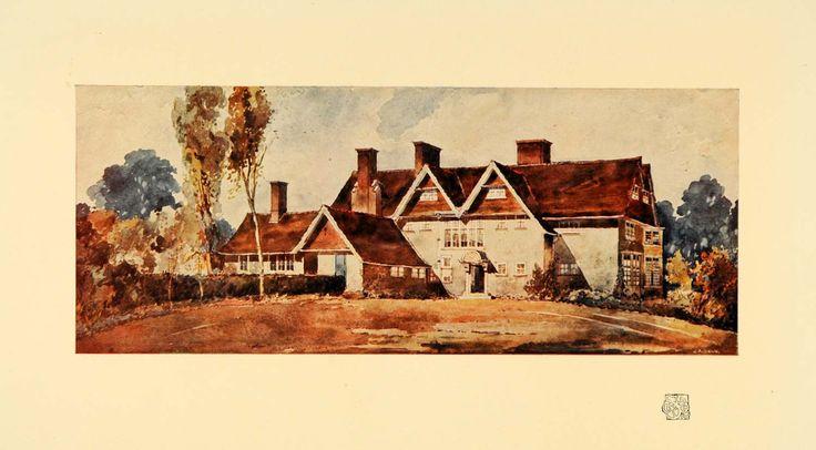 1908 Print House Harrow Weald Architecture Mitchell Art - ORIGINAL INS3