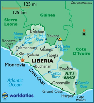 Located on the west coast of Africa, Liberia is bordered by Guinea in the north, Ivory Coast to the east, Sierra Leone on the northwest and the Atlantic Ocean to the south and southwest.