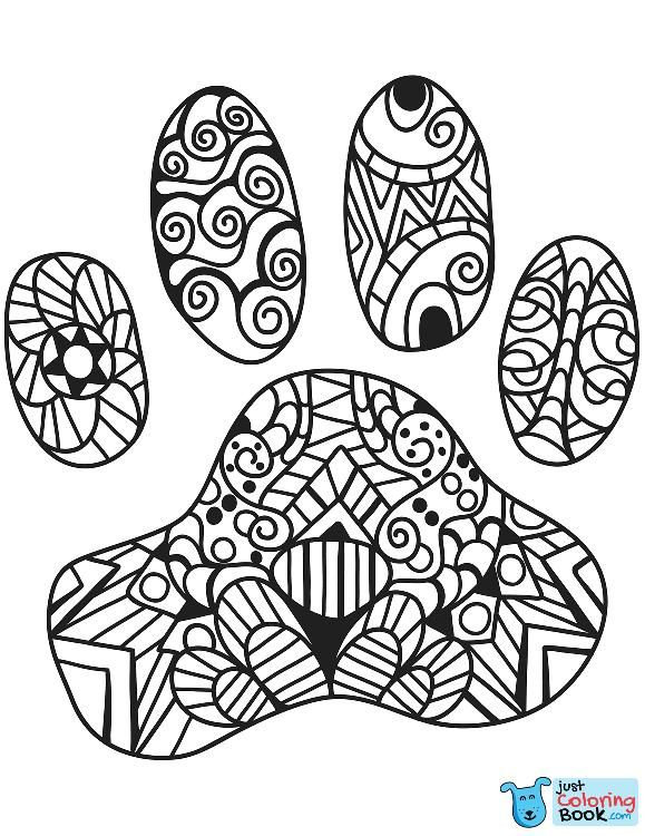 Cat Paw Print Zentangle Coloring Page Cat Paw Print Paw Print