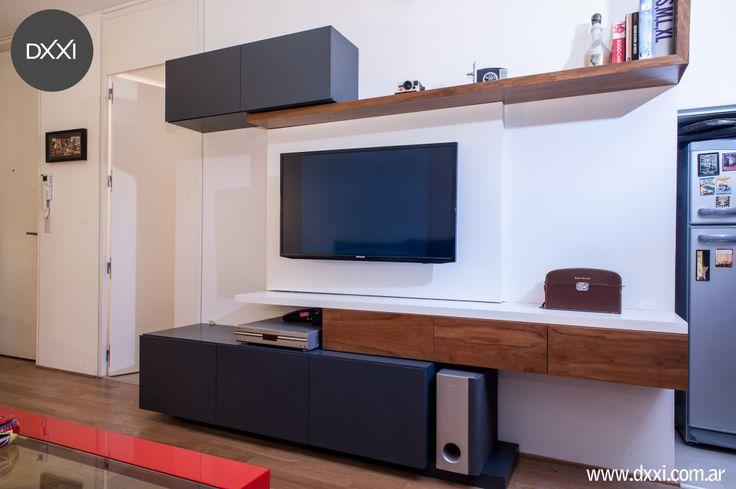 Mueble para TV modelo ZigZag MDF laqueado blanco y gris semi mate