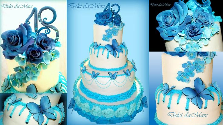 Sugar flower and blue butterfly for a special 18th birthday...