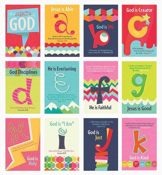 Christian Kids Scripture Art Prints, ABC's of God, Set of 11x17 Posters