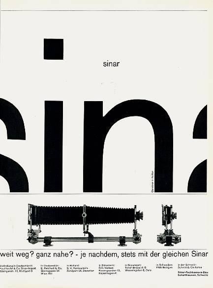 """Sinar"" camera advertisement  by Karl Gerstner and Markus Kutter - 1960"