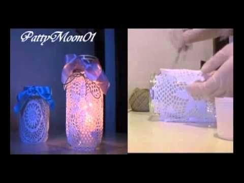 tutorial : come riciclare dei barattoli di vetro in modo semplice e veloce usando dei centrini in crochet della colla vinilica dello spago da cucina e del na...