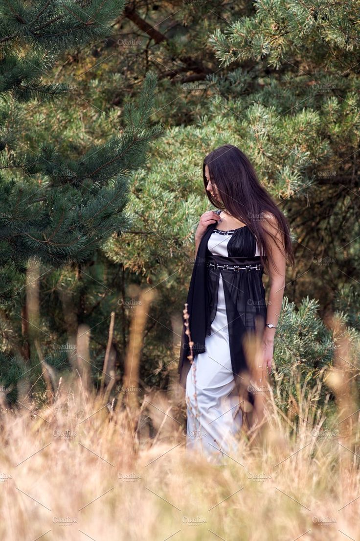 Graceful charming brunette model posing in black dress in coniferous park by Oleksandr Masnyi on @creativemarket