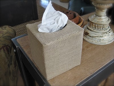 Burlap Tissue Box Holder