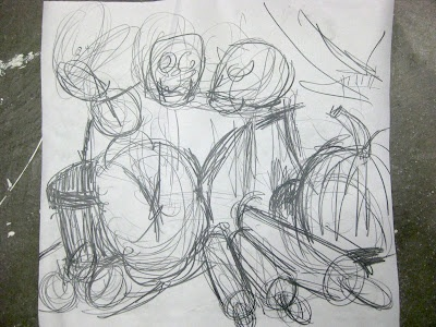Teaching a still life drawing class. Drawing one: From a quick sketch to a long drawing.
