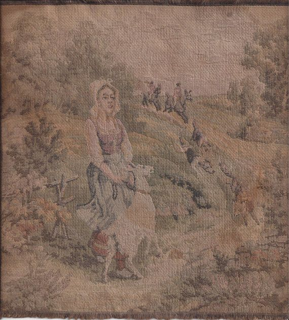 Vintage Woven Tapestry with Woman & Goat and by VictorianWardrobe, $12.99