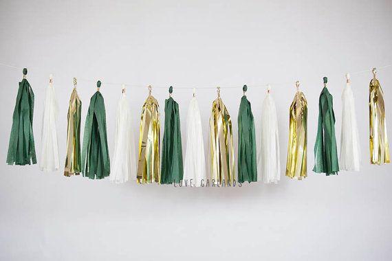 Hunter Green White Gold Tassel Garland, Dark Green Garland, Lush Green Party Decor, Garden Bridal Shower, Garden Party, Green Wedding Decor