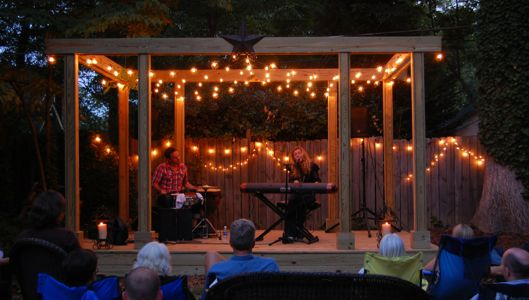 backyard stage: Dad is going to build us one for weekend ...