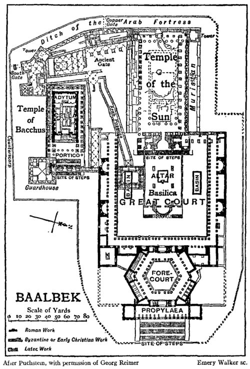 Reminder - take a look at my old photos from trip. Map of Baalbek. The history of settlement in the area of Baalbeck dates back about 9,000 years, with almost continual settlement of the tell under the Temple of Jupiter, which was a temple since the pre-Hellenistic era.