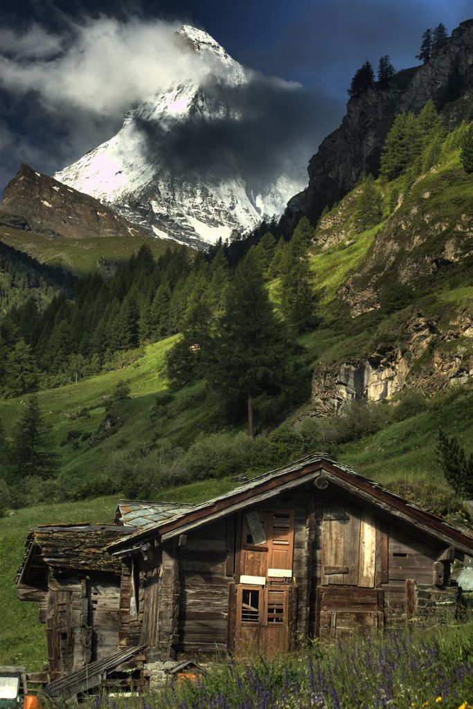 Tiny abandoned miners shack in the mountains....not sure where this is....but it looks like McDonald Peak in Glacier, Montana......just gorgeous!