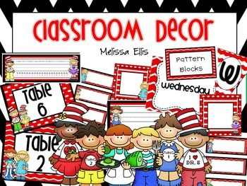 This is the perfect pack to get your room ready for the new school year! This pack contains a Seuss theme. Included in this pack: Locker Tags 6.5 x 6.5 Mailbox Tags 1.75 x 4.5 Table Signs Desk Name Tags - lined, blank and with number line and alphabet Supply Labels for Tool Kit and Rubbermaid boxes Math Manipulative Labels School Supply Labels Monday-Friday Labels for 5 drawer rolling cart Alphabet Cards for Word Wall or Classroom Library Number Cards for Classroom Library Classroom Library…