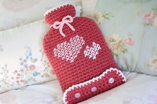 free crochet pattern -  hot water bottle cover designed by Cherry Heart