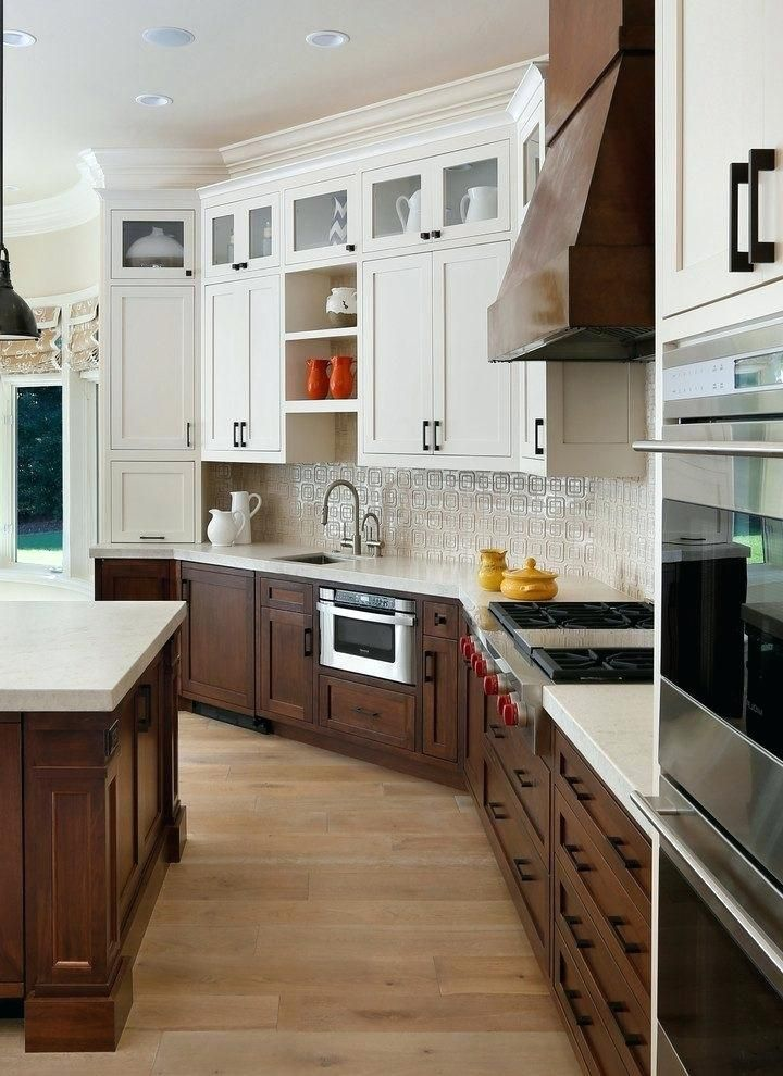 White Upper Cabinets Wood Lower Google Search Walnut