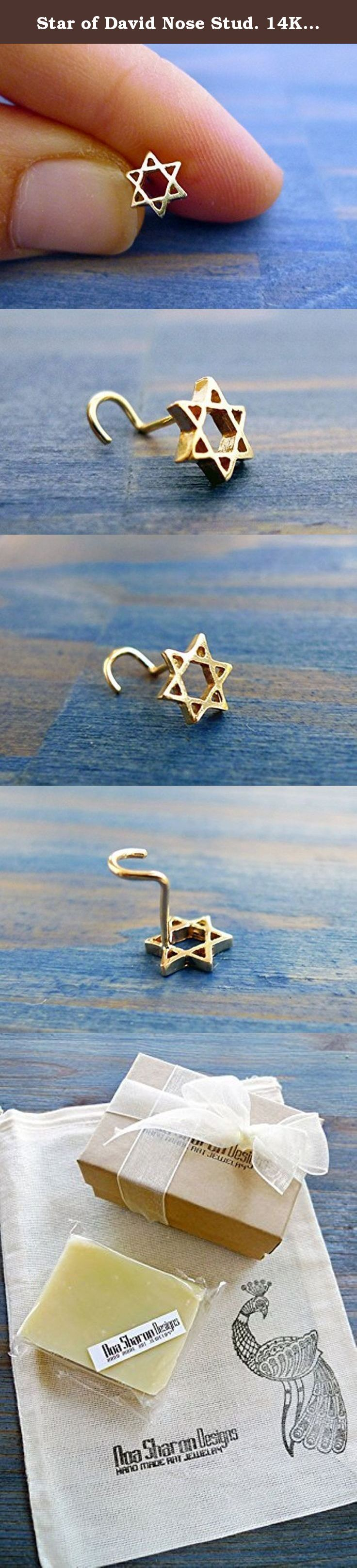 """Star of David Nose Stud. 14K Handmade Gold Nose Stud. Recycled Gold. Eco Friendly. Choose Your Thickness. Magen David Nose Stud. Man or Woman Jewelry. Unisex. A handmade gold nose stud with tiny delicate handmade Star of David symbol. This is a jewish talisman called in hebrew: """"Magen David"""" It is designed to fit both man and woman as a unisex jewelry with unique symbolism. You can choose your preferred thickness of the star: for example, if you have a tiny nose I'd recommend the thinner..."""