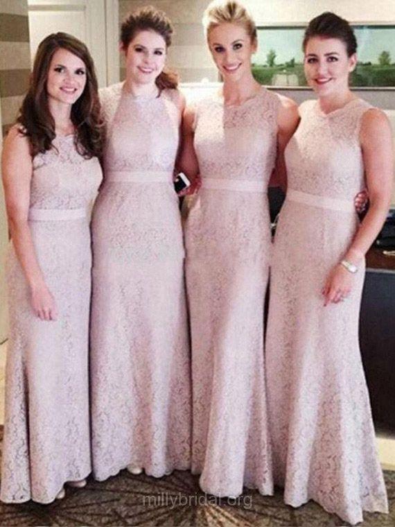 Cheap Bridesmaid Dresses, Long Bridesmaid Dress, Sheath/Column Lace Bridesmaid Dresses, Ankle-length Bridesmaid Dress, Pink Bridesmaid Dresses