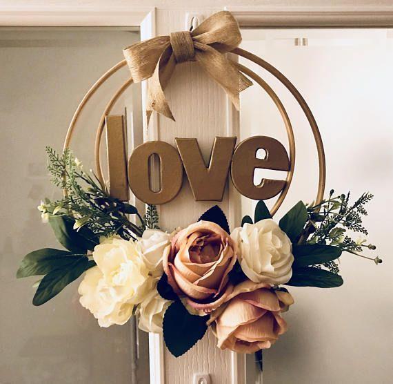 Artificial flower hoop wreath – Love – Gift – home decor – weddings –