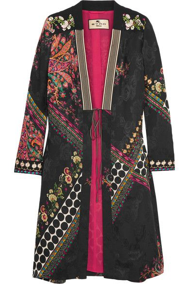 Multicolored satin-jacquard Slips on 59% Viscose, 41% silk; trim1: 98% wool, 2% elastane; trim2: 60% viscose, 40% cotton; trim3: 94% cotton, 6% silk; trim4: 100% polyester; lining: 100% silk Dry clean Made in Italy