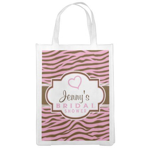 Brown, Pink Zebra Stripes; Bridal Shower Reusable Grocery Bag