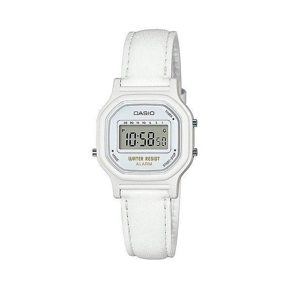 Women's Casio LA11WL-7A Digital Watch (€17) ❤ liked on Polyvore featuring jewelry, watches, white, digital watch, casio, casio wrist watch, white watches and white wrist watch