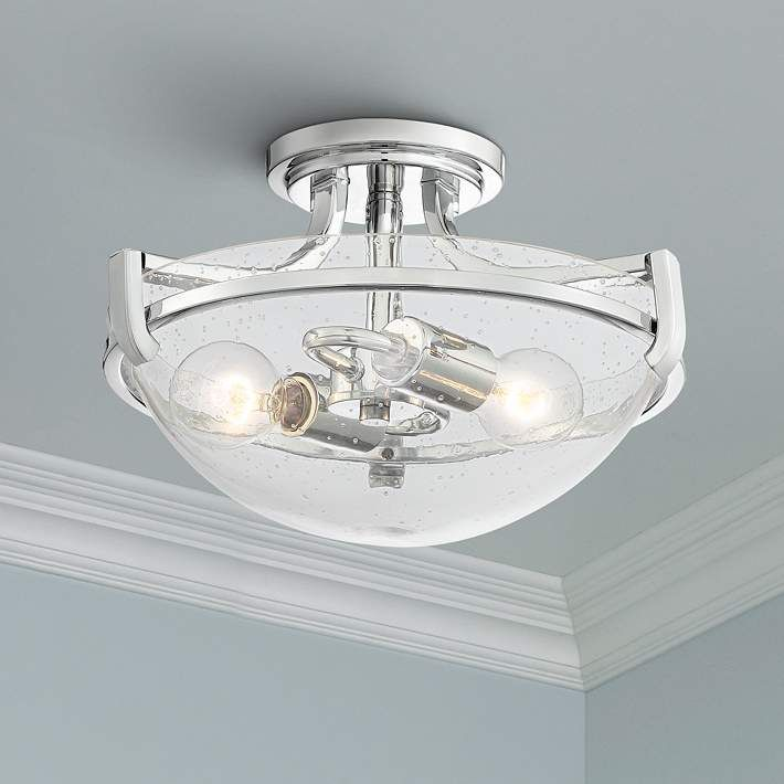 Mallot 13 Wide Chrome And Clear Seedy Glass Ceiling Light 64v93 Lamps Plus Ceiling Lights Glass Ceiling Lights Glass Ceiling Seeded glass flush mount light