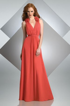 Bari Jay Fashions ( STYLE 227 ) Bella Chiffon flowers on halter, v-neck line with gathered bodice Color: Navy