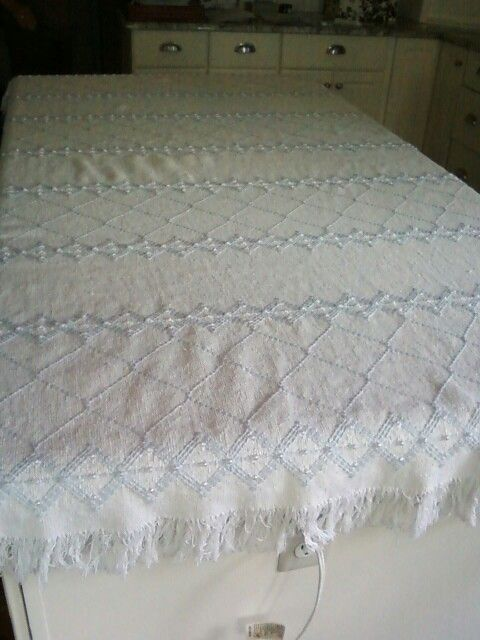 Swedish weaving blanket for my cousin Anita. Pearls woven into the pattern made it elegant