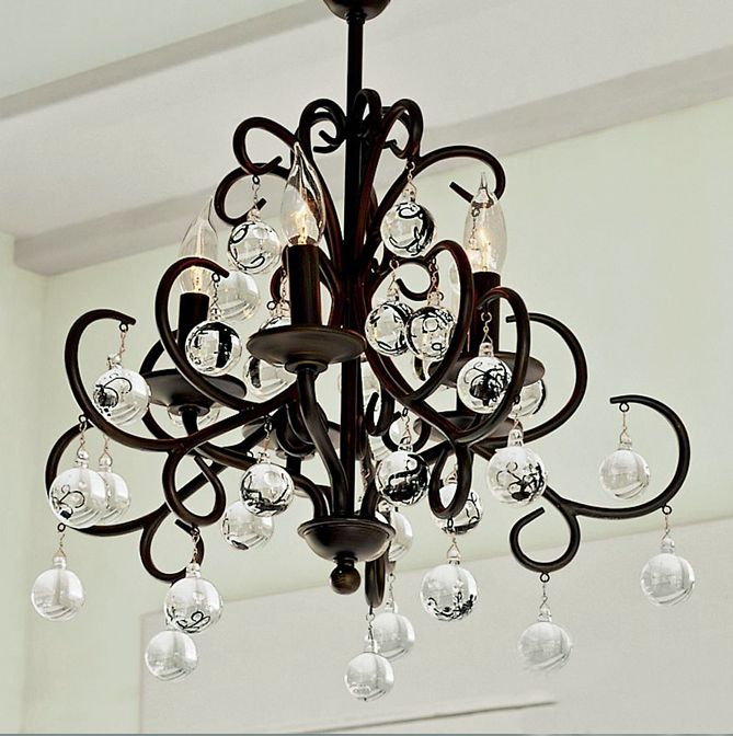 Fashion black 5 tieyi antique belt of the crystal ball pendant light study light lamp unique candle lamps $327.65