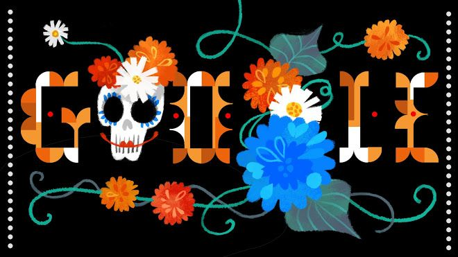 """Be thankful for small mercies ! Most Roman Catholic Google Doodle with this canny countenanced memento mori? Zany """"Day of the Dead 2014"""" animation features hollow-faced sugar skulls decorated with chrysanthemums, a traditional flower for decorating graves in cemeteries at this time of year http://blog.catherinedelors.com/chrysanthemums-and-all-souls-day/"""
