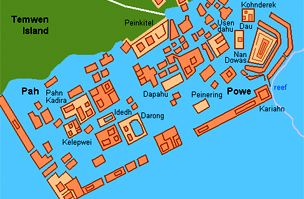 Nan Madol elhelyezkedése a tengeren