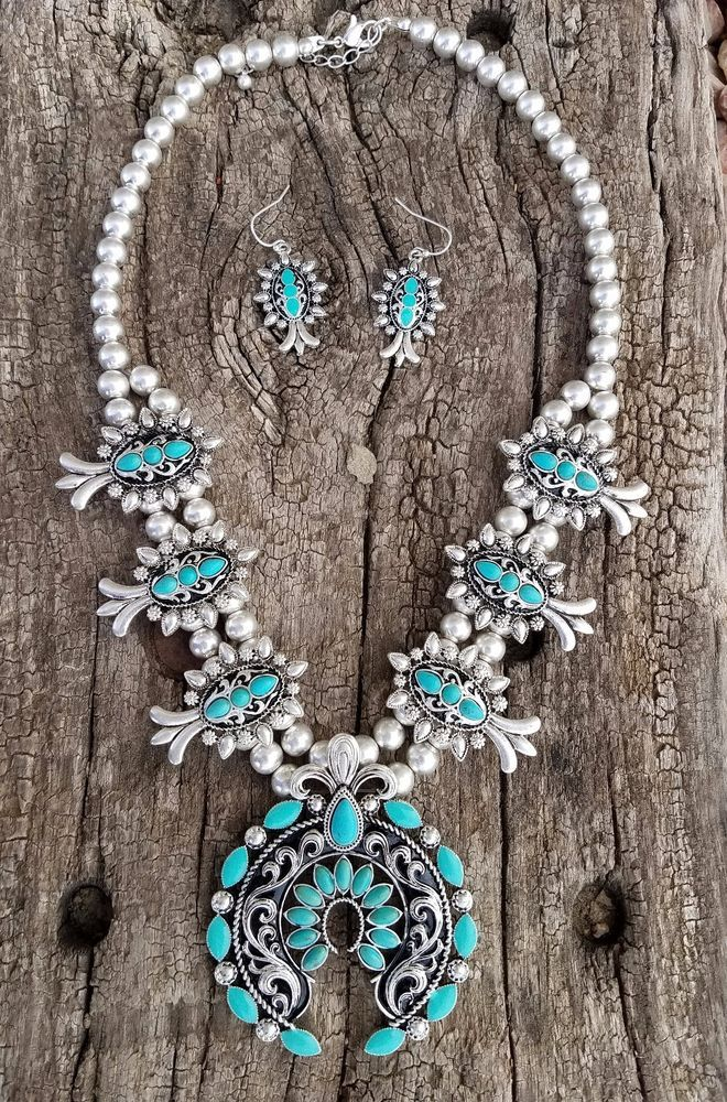 COWGIRL Bling Southwest Turquoise SQUASH BLOSSOM Western Gypsy NECKLACE SET #Unbranded