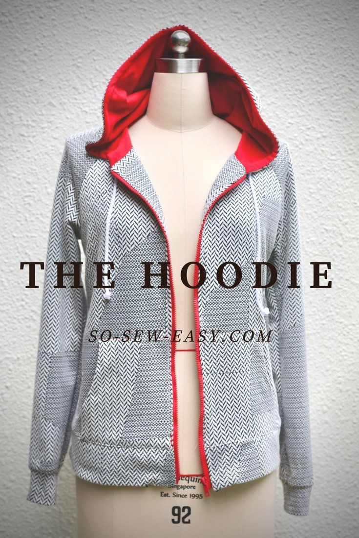 Free Hoodie pattern and tutorial. Sizes 6 to 24.