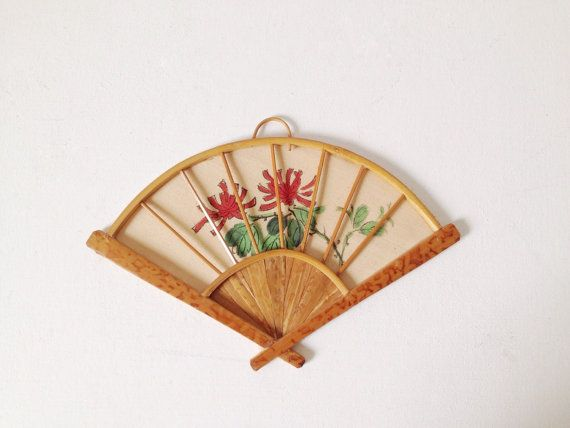 Vintage bamboo fan wall hanging small unusual by VelvetEra on Etsy