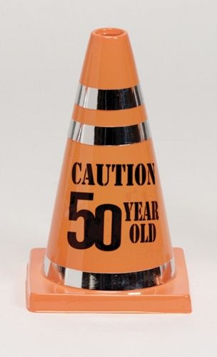 "7"" tall plastic favor cone says ""Caution 50 Year Old"". Orange plastic decorated with shiny silver tape."