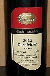 Vinessa Dornfelder trocken 2012, QbA Rheinhessen, Duitsland -