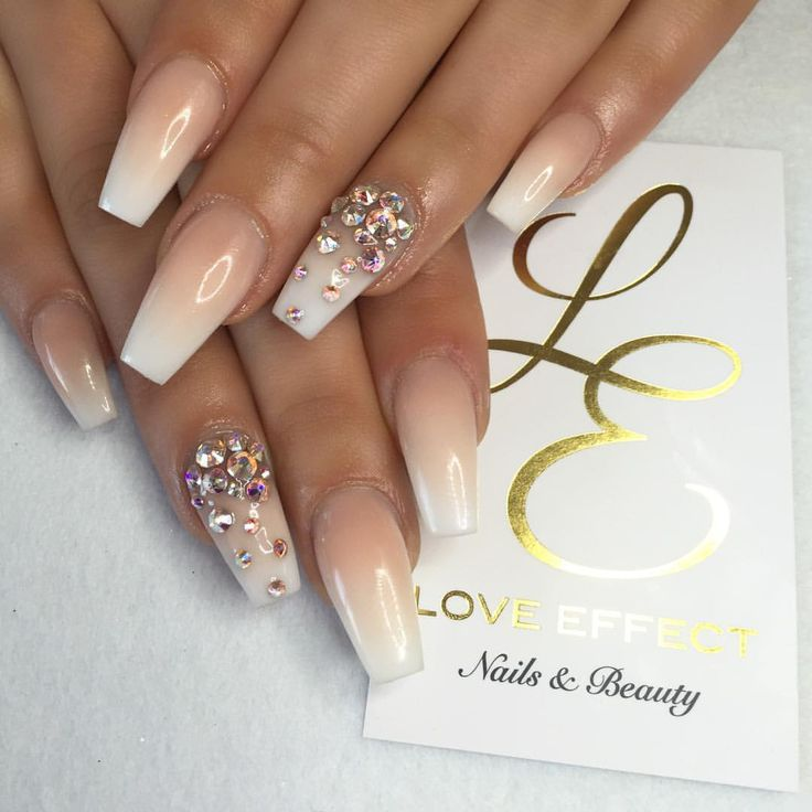 Nude and White Ombre Nailz with Bling