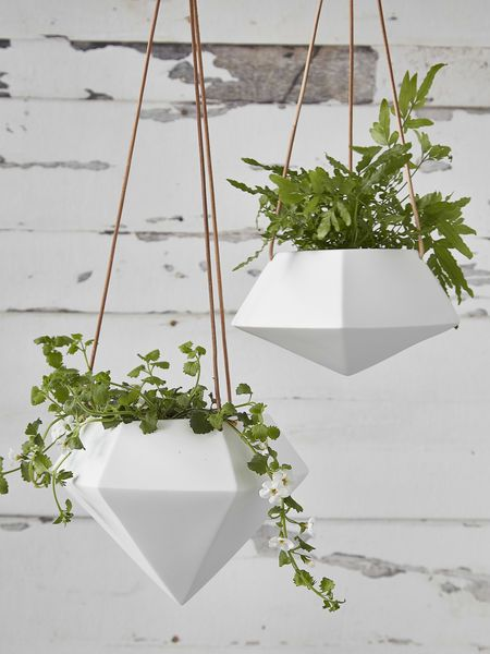 Geometric Hanging Planter Large #nordichouse #ceramic #hanging #planters #white