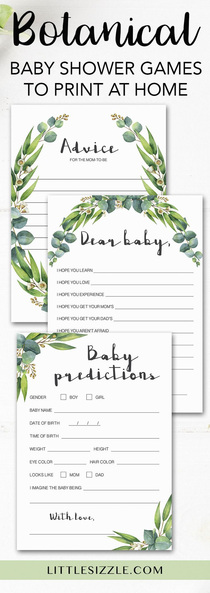 Botanical Baby Shower Games Printable