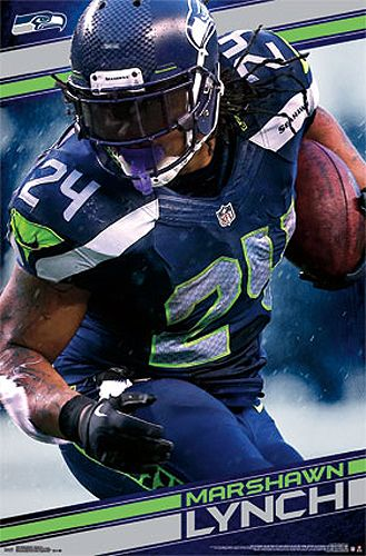 Marshawn Lynch Power Seattle Seahawks NFL Action Poster - Costacos 2014