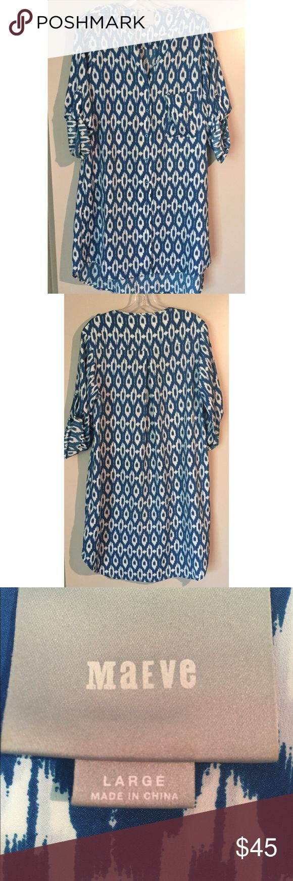 """Anthropologie """"Maeve"""" Shirt Dress Anthropologie """"Maeve"""" shirt dress in beautiful blue and white pattern. Tab sleeves and high/low hem. Anthropologie Dresses"""