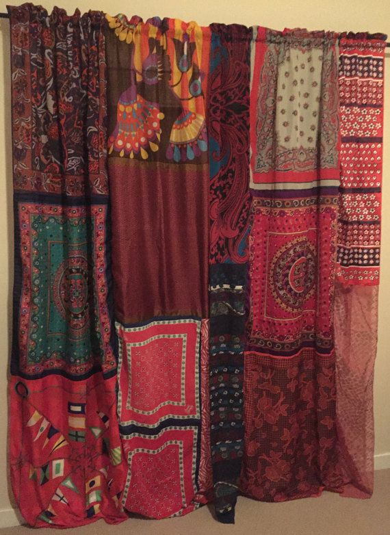 Boho Curtains Hippie Drapes Panels -  Boho Gypsy Fringe Vintage Scarves - Bohemian Wall Decor Bedroom - Patchwork Silk Panels