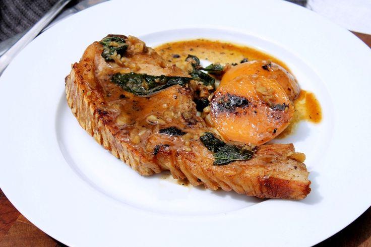 Pork chops with peach, sage & garlic sauce