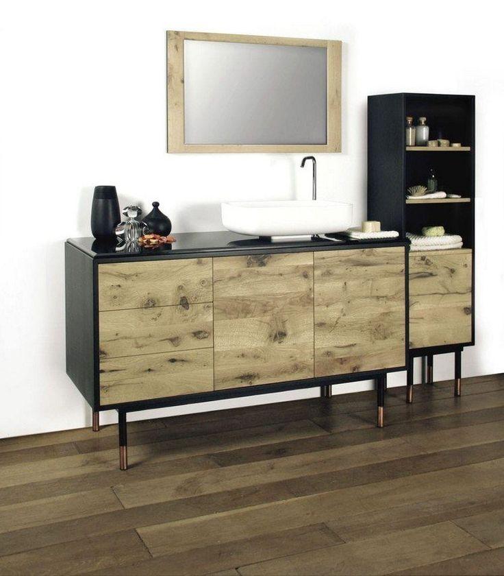 meuble sous vasque salle de bain à façade en bois qui contraste avec le cadre noir et la vasque blanche