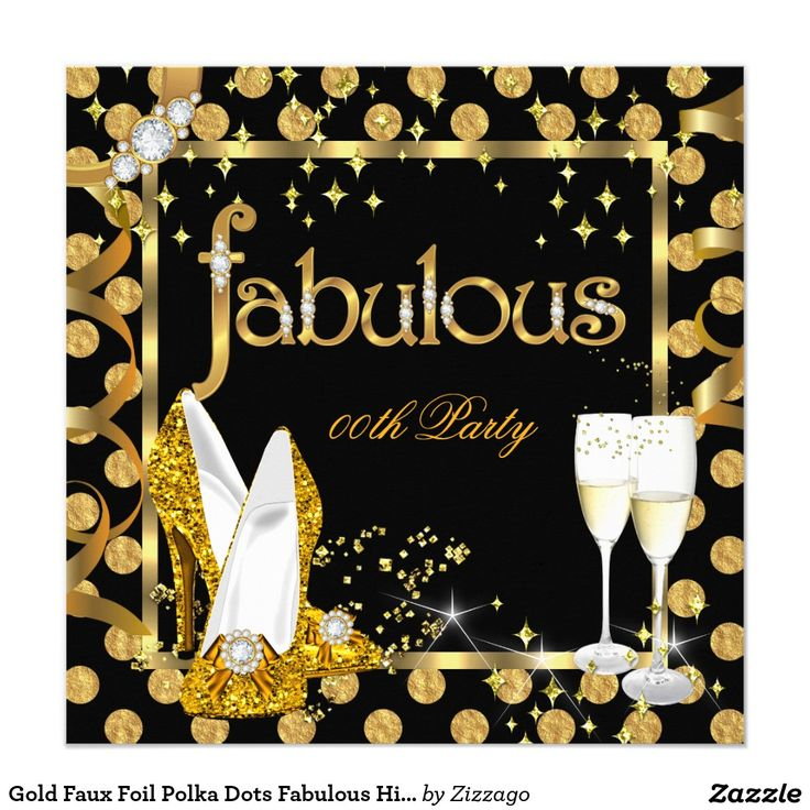 Gold Faux Foil Polka Dots Fabulous High Heel Party Invitation