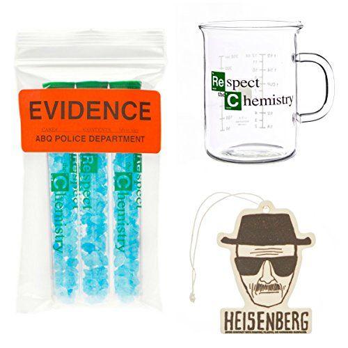 Walter White 3 Pack: Beaker Mug Blue Sky Candy & Heisenberg Air Freshener @ niftywarehouse.com #NiftyWarehouse #BreakingBad #AMC #Show #TV #Shows #Gifts #Merchandise #WalterWhite