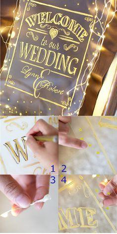 [DIY]ウエルカムボード 透明なガラス板やアクリル板にゴールドの文字で「WELCOME to our WEDDING」の文字を。さらにフレーム周りにはイルミネーションライトでキラキラを。ジャイとウエディングや二次会に使えば、ゲストの気分も一気に夜会モードに!